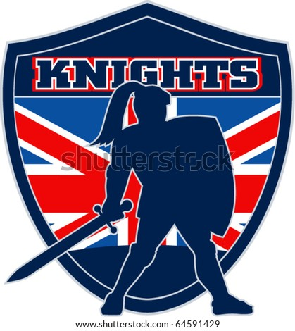 "illustration of Knight silhouette with sword shield side Great Britain British union jack flag in background words ""Knights"" suitable mascot for  sports sporting club organization"