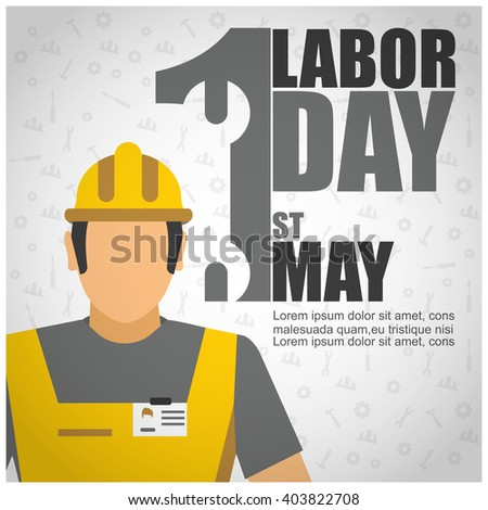 illustration of Labor Day concept with Worker on pattern background and typography. vector illustration - stock vector