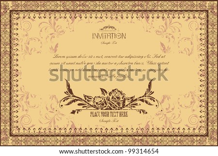 illustration of lace photo frame on floral grungy background - stock vector