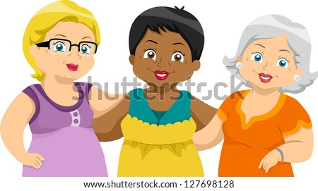 Illustration of Lady Senior Citizens Friends