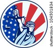 Illustration of lady with blindfold holding scales of justice with American stars and stripes flag set inside circle done in retro style. - stock photo