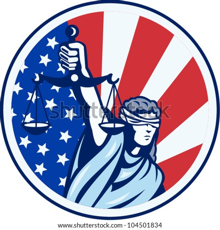 Illustration of lady with blindfold holding scales of justice with American stars and stripes flag set inside circle done in retro style. - stock vector