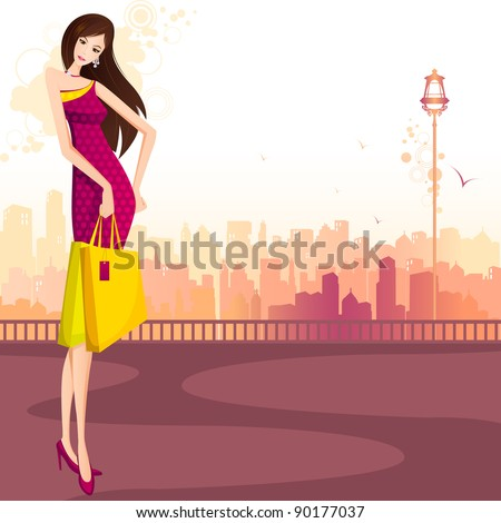 illustration of lady with shopping bag standing on street - stock vector