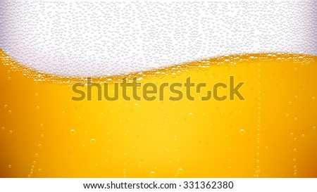 illustration of lager background with wave of bubbles - stock vector