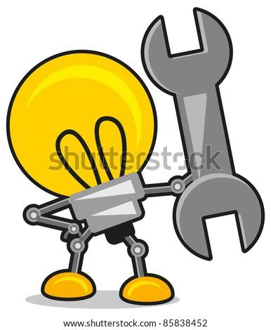 illustration of lamp robot - stock vector