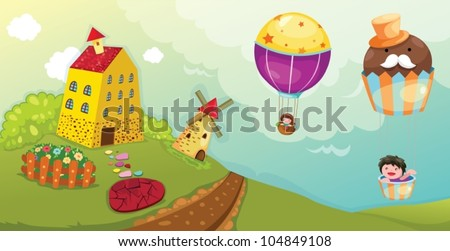 illustration of landscape boy and girl riding hot air balloon