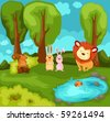 illustration of landscape cartoon animals in the jungle - stock vector