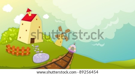 illustration of landscape cartoon farm house and windmill - stock vector