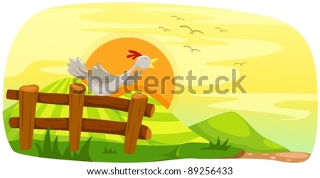 illustration of landscape chicken on fence - stock vector