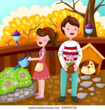illustration of landscape couple gardening - stock vector