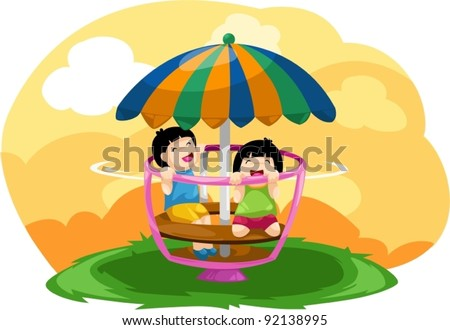 illustration of landscape kids playing merry go round - stock vector