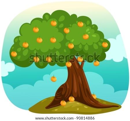 illustration of landscape orange tree - stock vector