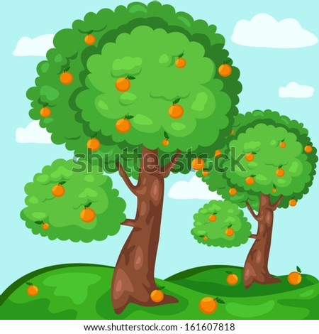 illustration of landscape orange trees - stock vector