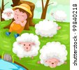 illustration of landscape shepherd with flock of sheep - stock photo