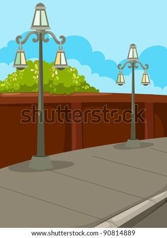 illustration of landscape street lamp - stock vector