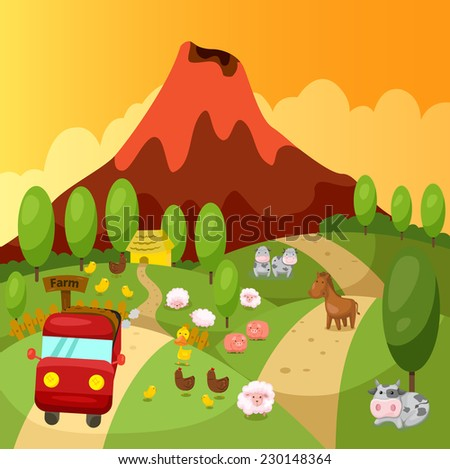 illustration of landscape truck driving in the farm  - stock vector