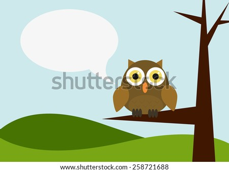 Illustration of landscape with owl siting on a tree with speech bubble - stock vector
