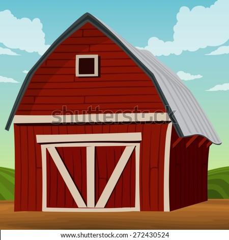 illustration of  landscape  wooden barn - stock vector