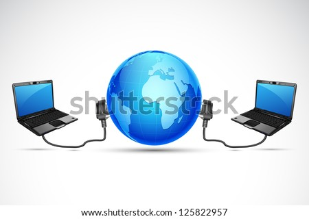illustration of laptop connected with globe with wire