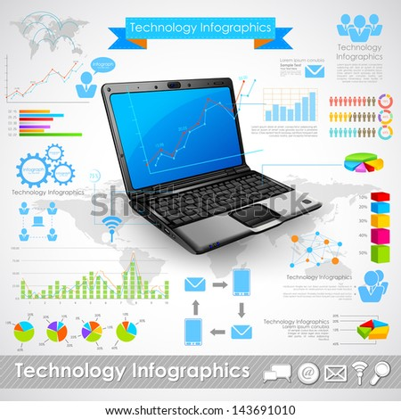 illustration of laptop technology infographic chart - stock vector