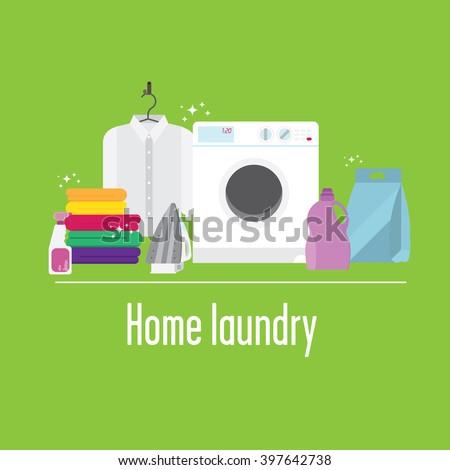 Illustration of laundry. Contains iron, laundry, washing machine, shirt, detergents. - stock vector
