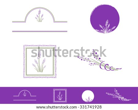 Illustration of Lavender Design Collection Over White - stock vector