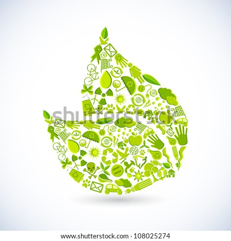 illustration of leaf shape made of recycle sign - stock vector