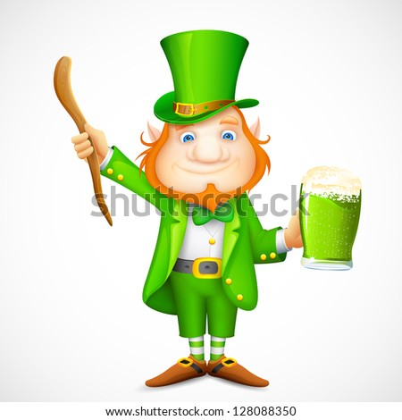 illustration of Leprechaun with beer mug wishing saint patrick's day - stock vector
