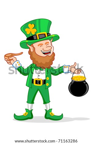 illustration of Leprechaun with smoking pipe and gold coin pot of saint patrick's day