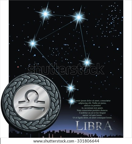 Illustration of Libra zodiac sign. Scale zodiac poster.