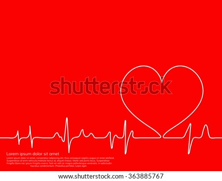 illustration of life line forming heart shape, Colorful red background.