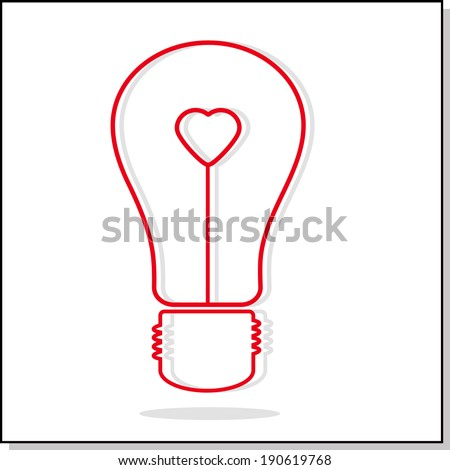 Illustration of light bulb with heart. Abstract symbol of an idea, a symbol of love. Vector illustration.  - stock vector