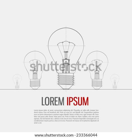 Illustration Of Lightbulb Isolated On Gray Background. Vector Illustration. - stock vector