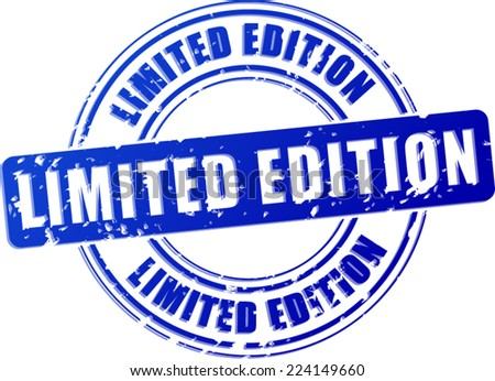 Illustration of limited edition blue stamp on white background - stock vector