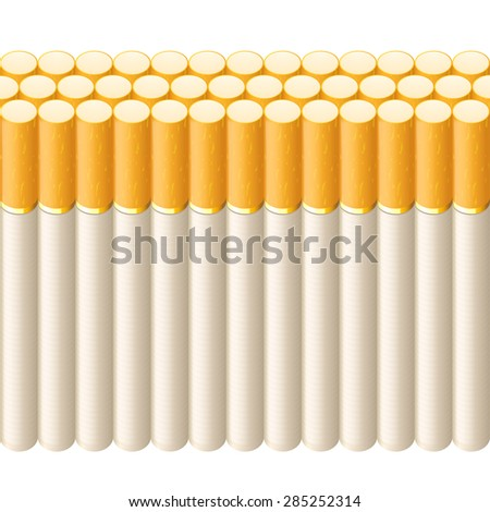 illustration of line of cigarettes on white background - stock vector