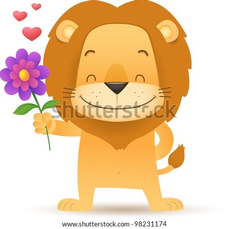 Illustration of Lino the Lion Holding a Flower - stock vector