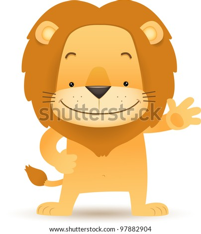 Illustration of Lino the Lion standing and waving hand - stock vector