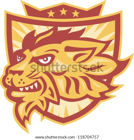 Illustration of lion head facing side with shield and crown and stars in background.