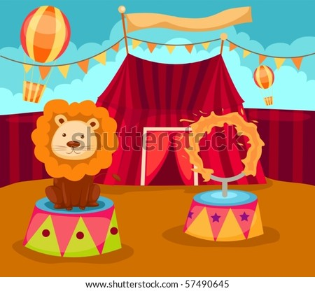 illustration of  lion with flaming ring in circus - stock vector