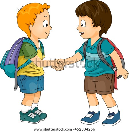 Illustration Little Boys Shaking Hands Stock Vector ...