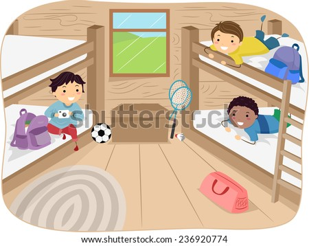 Illustration of Little Boys Sharing a Cabin in a Camp - stock vector