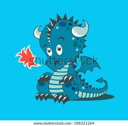 Illustration of little dragon with flame - stock vector