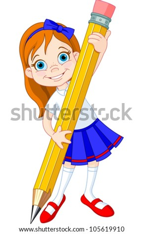 Illustration of Little Girl and Giant Pencil - stock vector