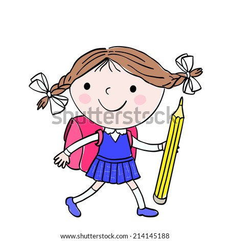 Illustration of little girl who is going to school with the pink bag and big yellow pencil on the white background - stock vector
