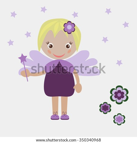 Illustration of little girl with magic wand