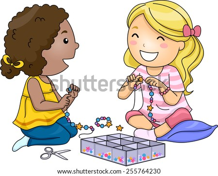 Illustration of Little Girls Making Accessories With Colorful Beads - stock vector
