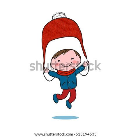 Illustration of little jumping boy in big winter knitted cap on white background