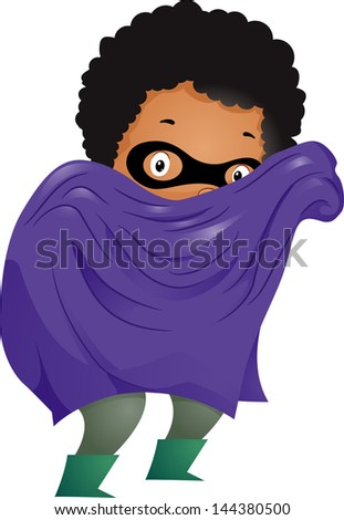 Illustration of Little Kid Boy Dressed in a Superhero Costume with Cape and Mask - stock vector
