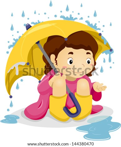 Illustration of Little Kid Girl Sitting Under the Rain with Umbrella playing with Raindrops - stock vector
