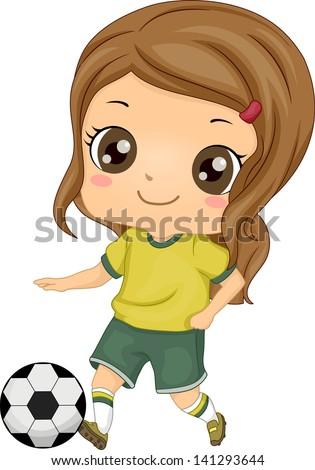 Illustration of Little Kid Soccer Girl kicking a Soccer Ball - stock vector